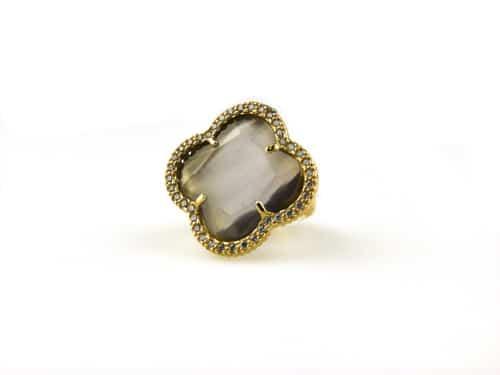 zilveren ring geel goud verguld gezet met grijze steen klaver bloem en cubic zirconia