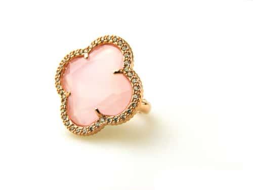 zilveren ring roosgoud verguld met roze steen klaver bloem en cubic zirconia