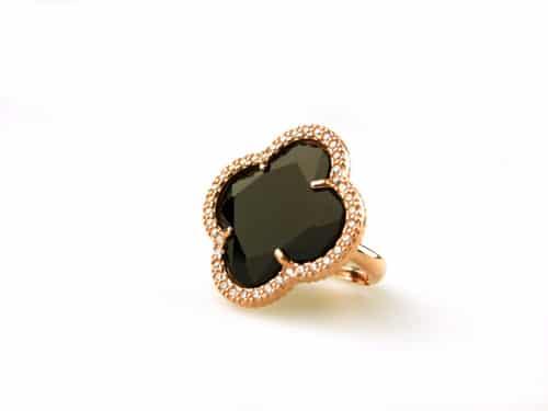 zilveren ring roosgoud verguld met zwarte steen klaver bloem en cubic zirconia