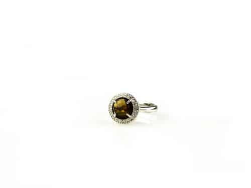ring in zilver bruine steen en cubic zirconia