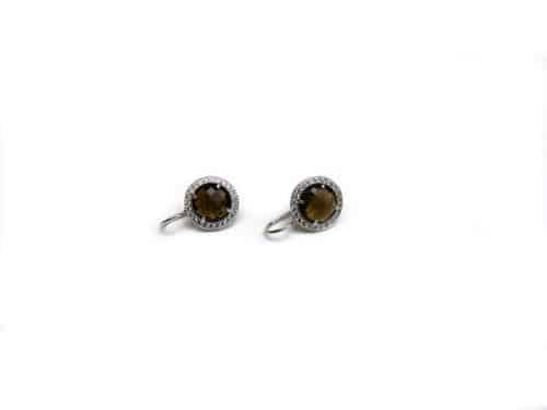 oorringen oorbellen in zilver met bruine steen en cubic zirconia