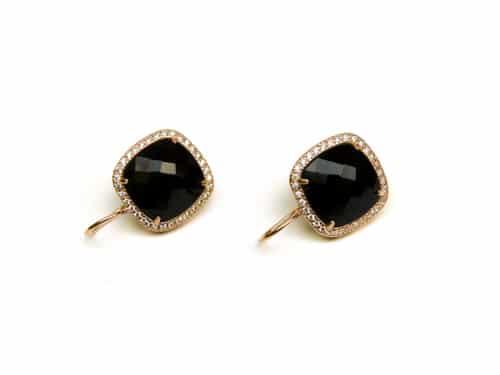 oorringen oorbellen in zilver roosgoud verguld met zwarte steen en cubic zirconia
