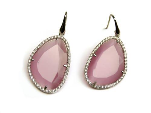 oorringen oorbellen in zilver met roze steen en cubic zirconia