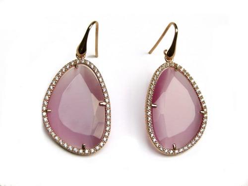 oorringen oorbellen in zilver roosgoud verguld met roze steen en cubic zirconia
