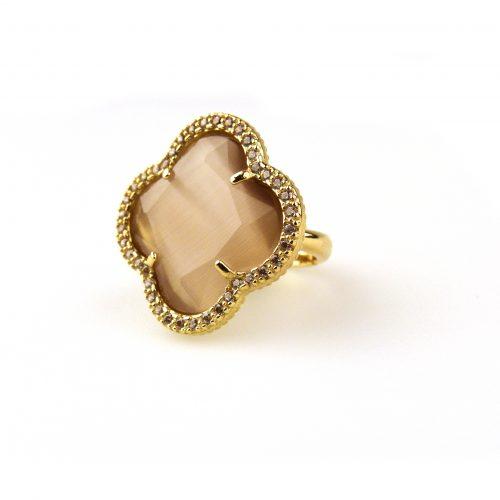ring in zilver geelgoud verguld met bruine steen en cubic zirconia