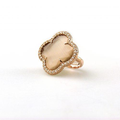 zilveren ring roosgoud verguld gezet met bruine steen bloem klaver en cubic zirconia