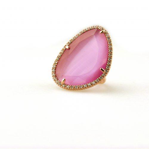 grote zilveren ring met roze steen en cubic zirconia