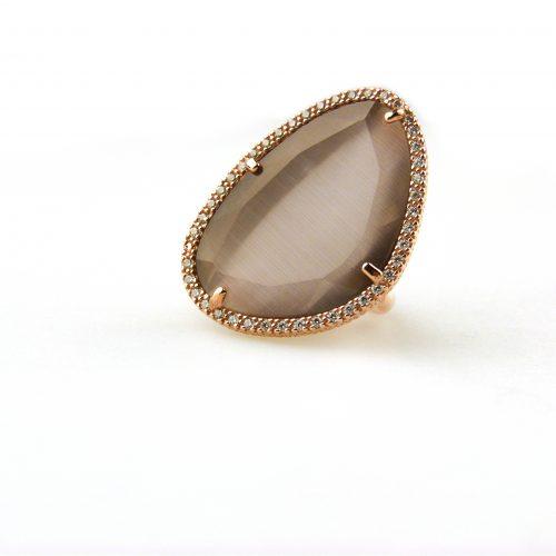 grote zilveren ring grijze steen en cubic zirconia
