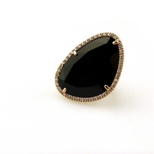 grote zilveren ring zwarte steen en cubic zirconia