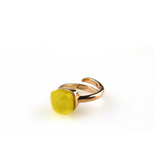 ring in zilver roosgoud verguld gezet met gele steen