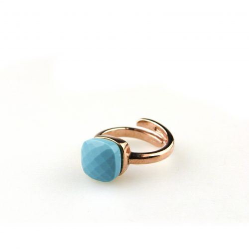 ring in zilver roosgoud verguld gezet met turkooise steen