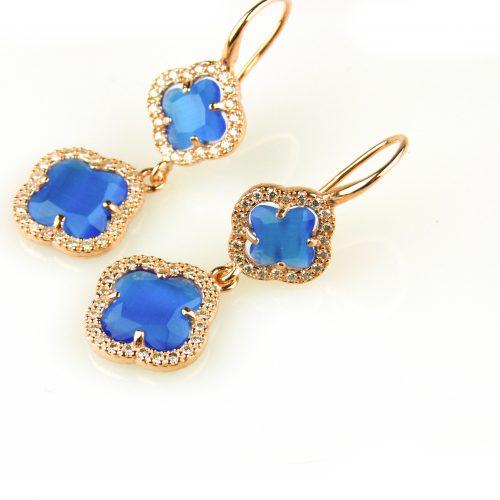 oorringen oorbellen in zilver roosgoud verguld gezet met kobalt blauwe stenen klavers bloemen
