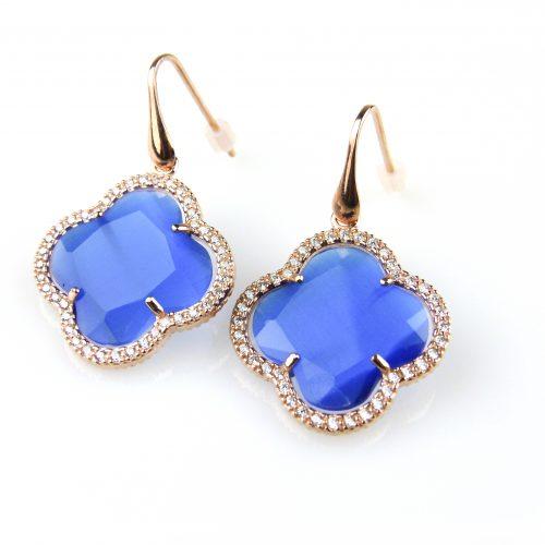 oorringen oorbellen in zilver roosgoud verguld met kobalt blauwe steen klaver bloem en cubic zirconia
