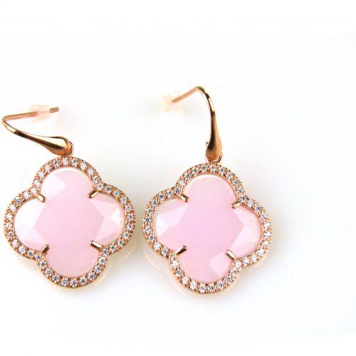 oorringen oorbellen in zilver roosgoud verguld met roze steen klaver bloem en cubic zirconia