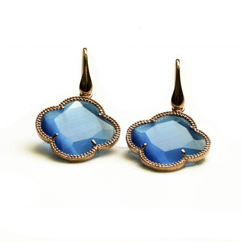 oorringen oorbellen in zilver roosgoud verguld met gekleurde blauwe steen klaver bloem