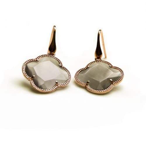 oorringen oorbellen in zilver roosgoud verguld met gekleurde grijze steen klaver bloem