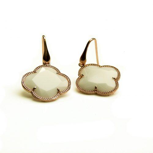 oorringen oorbellen in zilver roosgoud verguld met gekleurde witte steen klaver bloem
