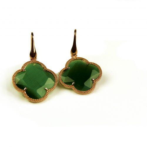 oorringen oorbellen in zilver roosgoud verguld met groene steen klaver bloem