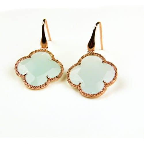 oorringen oorbellen in zilver roosgoud verguld met licht blauwe steen klaver bloem