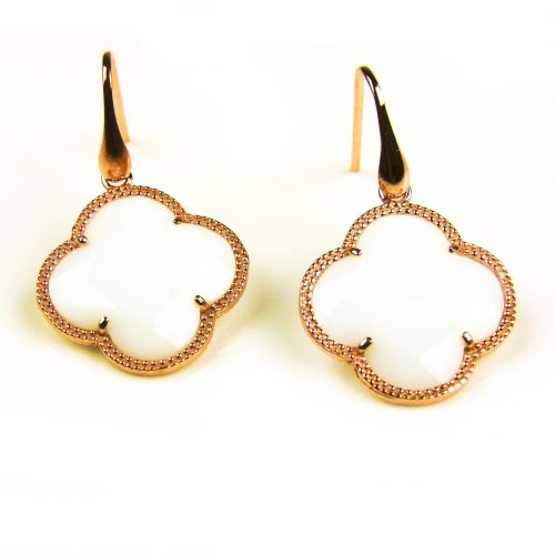 oorringen oorbellen in zilver roosgoud verguld met witte steen klaver bloem