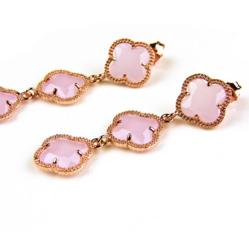 oorringen oorbellen in zilver roosgoud verguld met licht roze stenen klavers bloemen