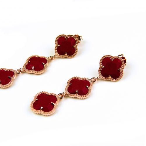 oorringen oorbellen in zilver roosgoud verguld met koraal rode stenen klavers bloemen