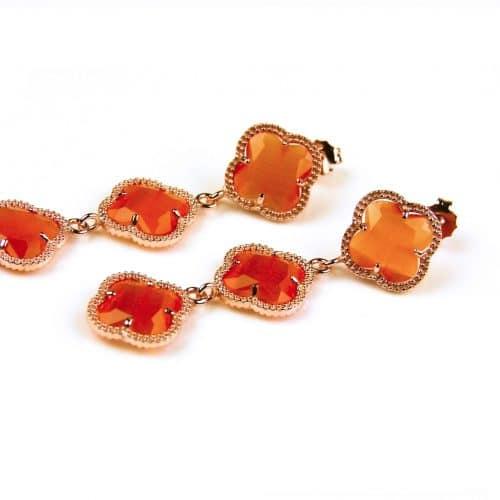 oorringen oorbellen in zilver roosgoud verguld met oranje stenen klavers bloemen