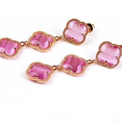 oorringen oorbellen in zilver roosgoud verguld met fel roze stenen klavers bloemen