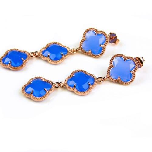 oorringen oorbellen in zilver roosgoud verguld met jeans blauwe stenen klavers bloemen