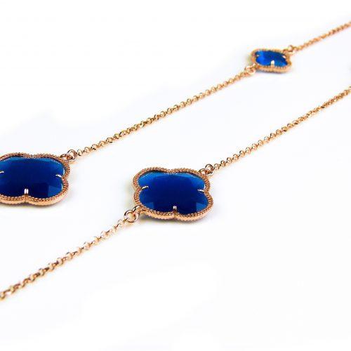 lange zilveren ketting roosgoud verguld met kobalt blauwe stenen klavers bloemen