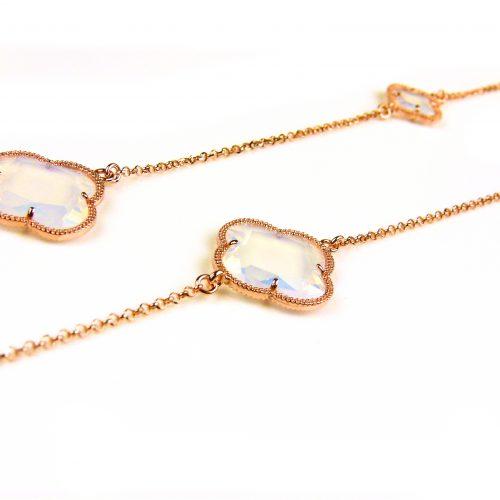 lange zilveren ketting roosgoud verguld met opaal stenen klavers bloemen