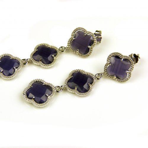oorringen oorbellen in zilver paarse steen klaver bloem