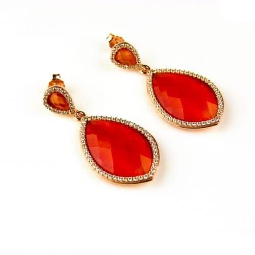 model Markies oorringen in zilver roze verguld oranje steen en cubic zirconia - Oorbel