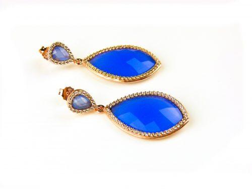 oorringen oorbellen in zilver roosgoud met jeans blauwe steen en cubic zirconia