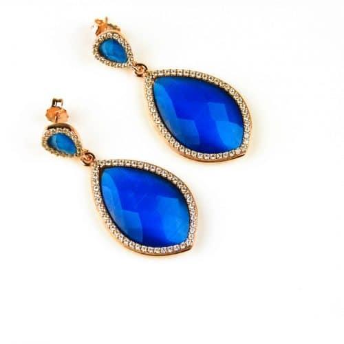 oorringen oorbellen in zilver roosgoud met kobalt blauwe steen en cubic zirconia