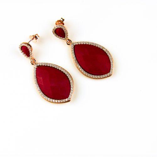 oorringen oorbellen in zilver roosgoud met koraal rode steen en cubic zirconia