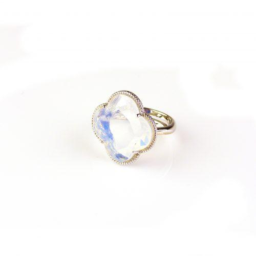 zilveren ring opaal steen klaver bloem