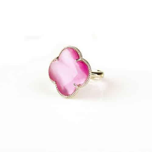 zilveren ring roze steen klaver bloem