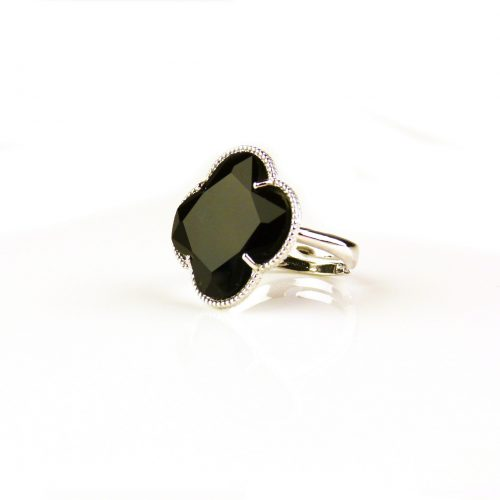 zilveren ring zwarte steen klaver bloem