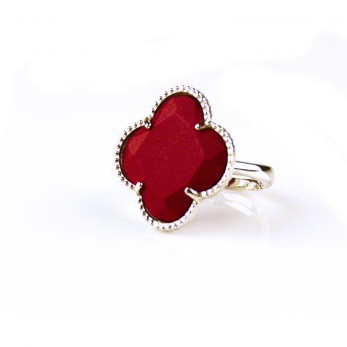 zilveren ring koraal rode steen klaver bloem