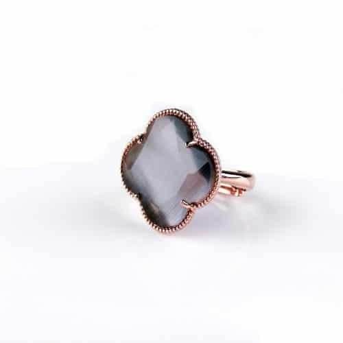 zilveren ring roosgoud verguld grijze steen klaver bloem