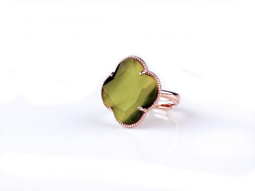 zilveren ring roosgoud verguld kaki groene steen klaver bloem
