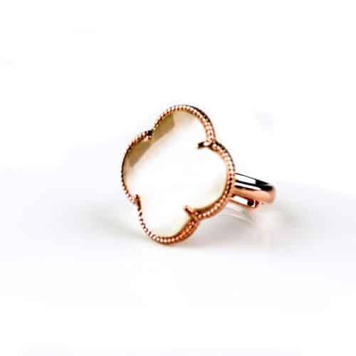 zilveren ring roosgoud verguld parelmoer steen klaver bloem