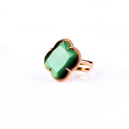 zilveren ring roosgoud verguld donker groene steen klaver bloem