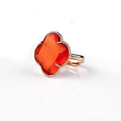 zilveren ring roosgoud verguld oranje steen klaver bloem