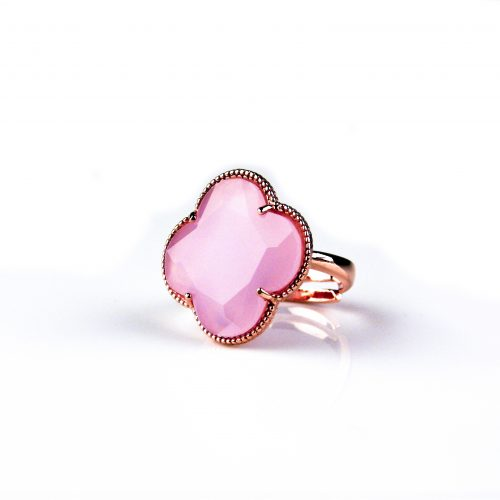 zilveren ring roosgoud verguld licht roze steen klaver bloem