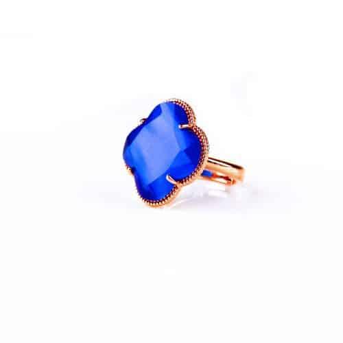 zilveren ring roosgoud verguld blauwe steen klaver bloem