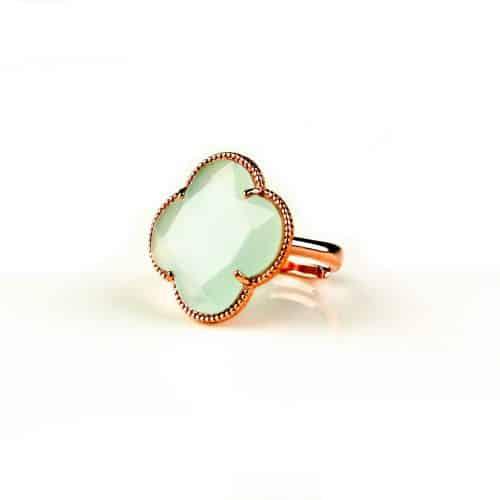 zilveren ring roosgoud verguld licht blauwe steen klaver bloem