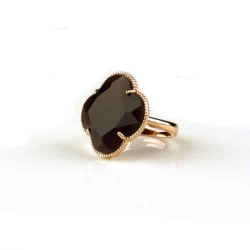 zilveren ring roosgoud verguld bordeaux steen klaver bloem