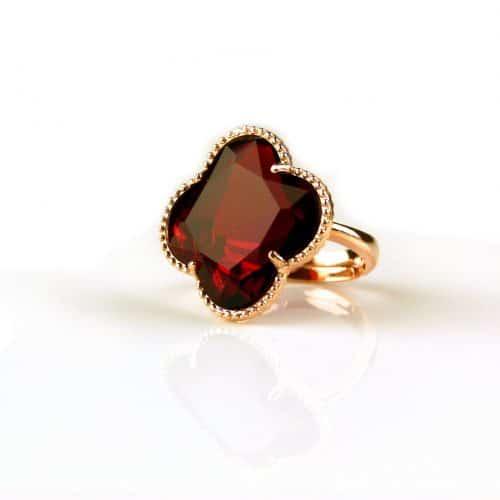 zilveren ring roosgoud verguld rode steen klaver bloem